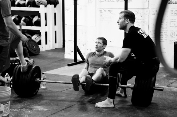Chris (CrossFit STT) & Derek sharing some strategy.