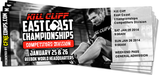 Crossfit New England this is your last chance to buy tickets for the Kill Cliff ECC. There are only 45 two-day tickets left! Go to www.ECChampionship.com to buy your two-day tickets.