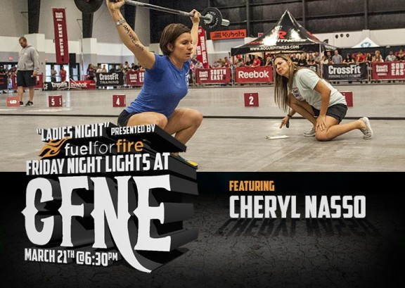 Come out on Friday night and watch Cheryl and the rest of the star studded cast throw down! Free beer, margaritas, and paleo treats, OH MY! We still have room in the first two heats! Want in? Email Max at max@crossfitnewengland.com.