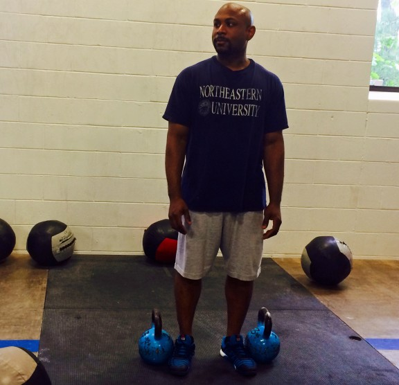 Ron finished up Elements on Friday by working out with the Nooners. He also color-coordinated his shoes to match his kettle bells. Strong move Ron.